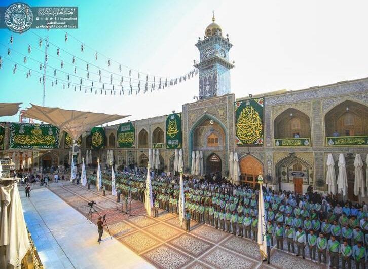 تصاویری بی نظیر از مراسم تعویض پرچم ایوان طلای حرم امام علی(ع)