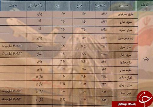پرواز های دوشنبه 8 مهرماه فرودگاه های مازندران