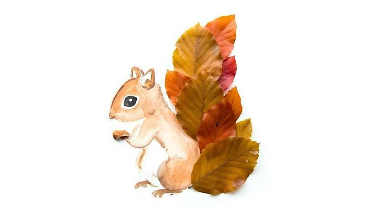 15 نقاشی پاییز بچگانه ساده با مداد رنگی، گواش و برگ های پاییزی