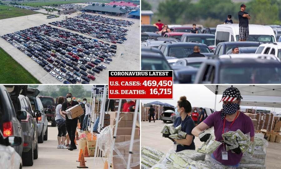 صف های طولانی برای دریافت غذای رایگان در آمریکا