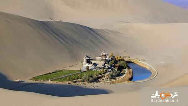 دریاچه ای پنهان وسط صحرای چین!